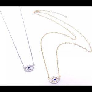 Jewelry - 925 Sterling Silver CZs EVIL EYE PENDANT NECKLACE